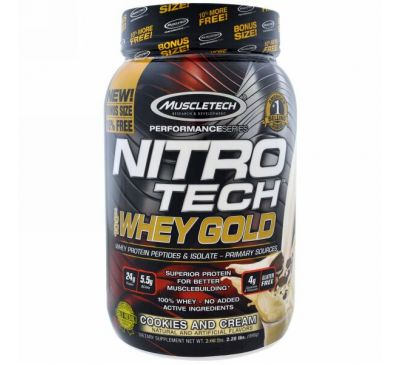 Muscletech, Nitro Tech, 100% Whey Gold, печенье со сливками, 2,20 фунта (999 г)