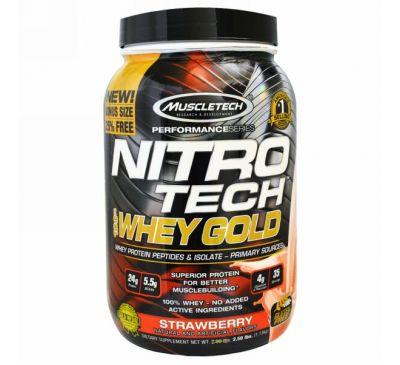 Muscletech, Nitro Tech, 100% сыворотка Gold, клубника, 2.20 фунтов (999 г)
