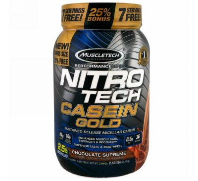 Muscletech, Performance Series, Nitro Tech Casein Gold, Chocolate Supreme, 2.53 lbs (1.15 kg)