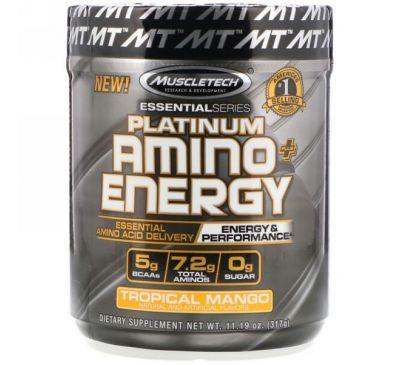 Muscletech, Platinum Amino Plus Energy, тропическое манго, 11,19 унц. (317 г)