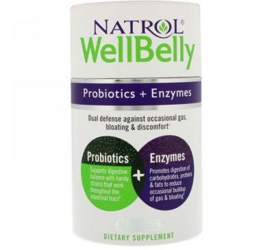 Natrol, WellBelly, Пробиотики + ферменты, 30 капсул