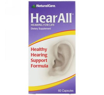 NaturalCare, HearAll, Healthy Hearing Support Formula, 60 Capsules