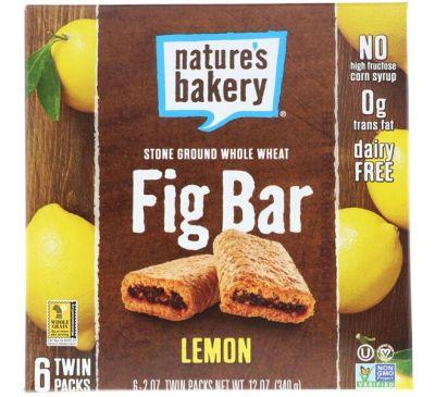 Nature's Bakery, Батончик из инжира, лимон, 6 двойных упаковок, по 2 унции каждый