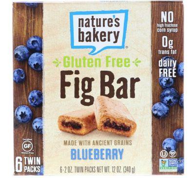 Nature's Bakery, Безглютеновый батончик из инжира, черника, 6 двойных упаковок, по 2 унц. каждый