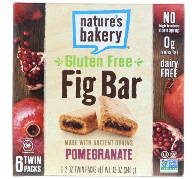 Nature's Bakery, Безглютеновый батончик из инжира, гранат, 6 двойных упаковок, по 2 унц. каждый