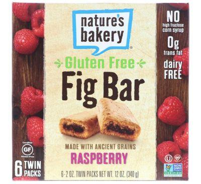 Nature's Bakery, Безглютеновый батончик из инжира, малина, 6 двойных упаковок, по 2 унц. каждая