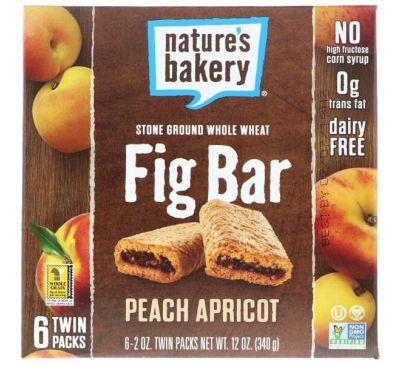 Nature's Bakery, Финиковый батончик, Персик и абрикос, 6 упаковок по две штуки, 2 унц. (56 г) в каждой