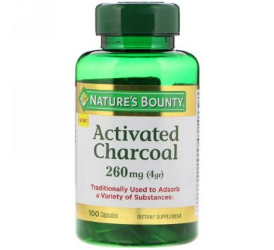 Nature's Bounty, Активированный уголь, 260 мг, 100 капсул