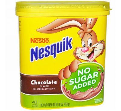 Nesquik, Nestle, со вкусом шоколада, без добавления сахара, 16 унций (453 г)