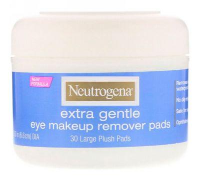 Neutrogena, Extra Gentle, подушечки для снятия макияжа с глаз, 30 больших бархатистых подушечек
