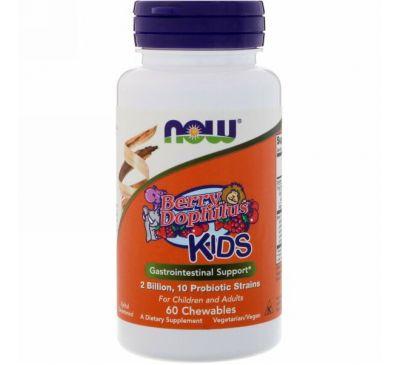 Now Foods, BerryDophilus, для детей, 2 млрд, 60 жевательных таблеток