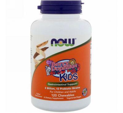 Now Foods, Berry Dophilus, Для детей, 2 млрд., 120 жевательных таблеток