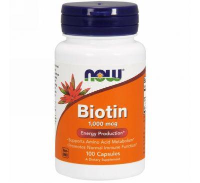 Now Foods, Биотин, 1000 мкг, 100 капсул
