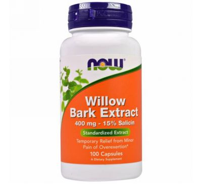 Now Foods, Экстракт коры ивы, 400 мг, 100 капсул