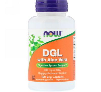 Now Foods, ГКС с алоэ вера, 400 мг, 100 вегетарианских капсул