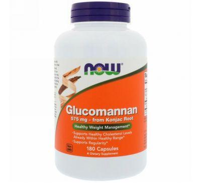 Now Foods, Глюкоманнан, 575 мг, 180 капсул