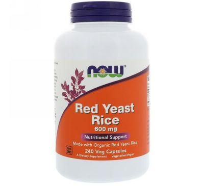 Now Foods, Красный ферментированный рис, 600 мг, 240 растительных капсул