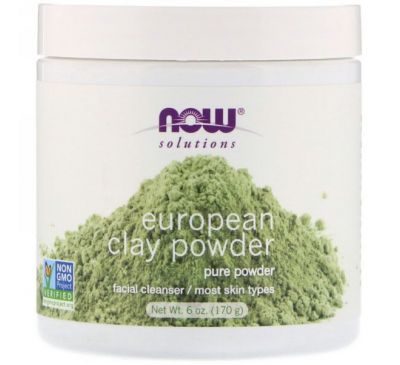 Now Foods, Решения, порошок из европейской глины, очищающее средство для лица, 170 г