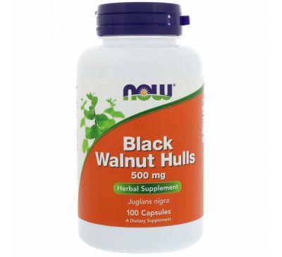Now Foods, Скорлупа черного ореха, 500 мг, 100 капсул