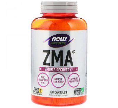 Now Foods, Спортивная серия, ZMA, восстановление после занятий спортом, 180 капсул