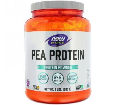 Now Foods, Спортивная серия, гороховый протеин, без добавок, 907 г