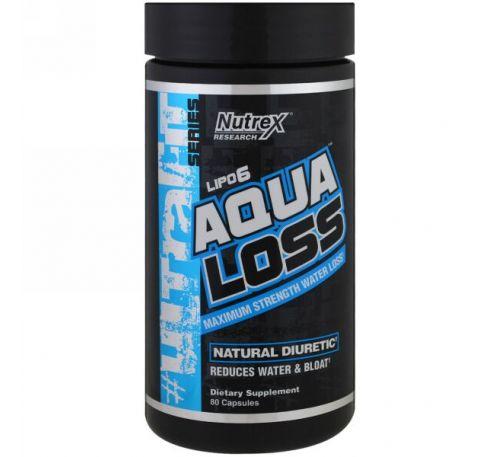 Nutrex Research, Aqualoss, максимальный вывод воды, 80 капсул