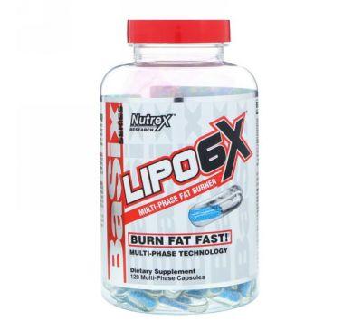 Nutrex Research, Basix Series, комплекс Lipo-6X, 120 капсул