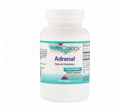Nutricology, Adrenal, Natural Glandular, 150 растительных капсул