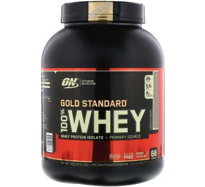 "Optimum Nutrition, Gold Standard 100% Whey, Cookies & Cream (""Печенье со сливками""), 4.63 фунтов (2,1 кг)"