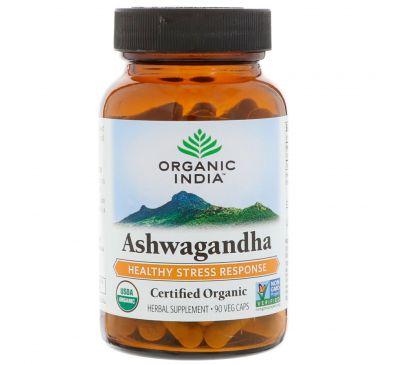 Organic India, Органическая ашвагандха, 90 растительных капсул