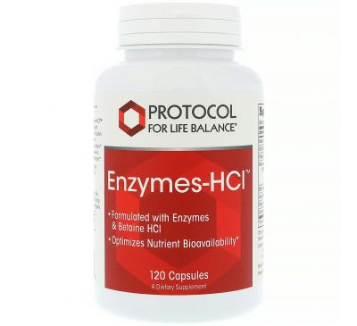 Protocol for Life Balance, Энзимы-HCI, 120 капсул