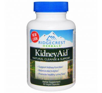 RidgeCrest Herbals, Препарат для почек Kidney Aid, 60 растительных капсул