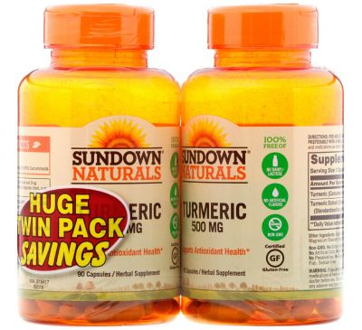 Sundown Naturals, Turmeric, Twin Pack, 500 mg , 90 Capsules Each
