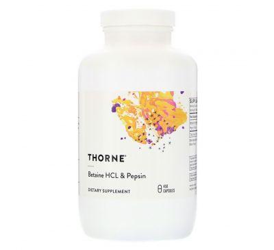 Thorne Research, Бетаин HCL и пепсина, 450 Veggie Caps