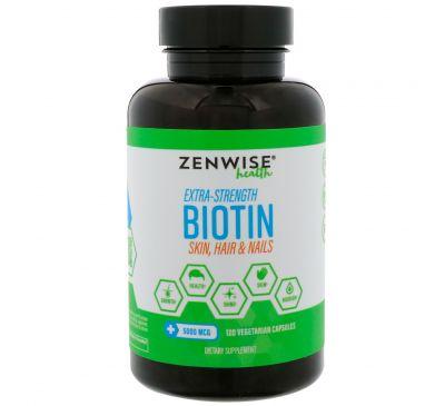 Zenwise Health, Сверхмощный биотин, 5000 мкг, 120 вегетарианских капсул