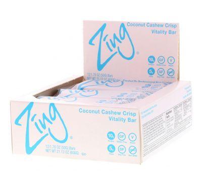 Zing Bars, Vitality Bar, Coconut Cashew Crisp, 12 Bars, 1.76 oz (50 g) Each